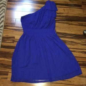 Francesca's boutique blue chiffon cocktail dress